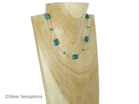 Faceted Green Chrysocolla Jasper, Swarovski Crystals & Sterling Silver Necklace